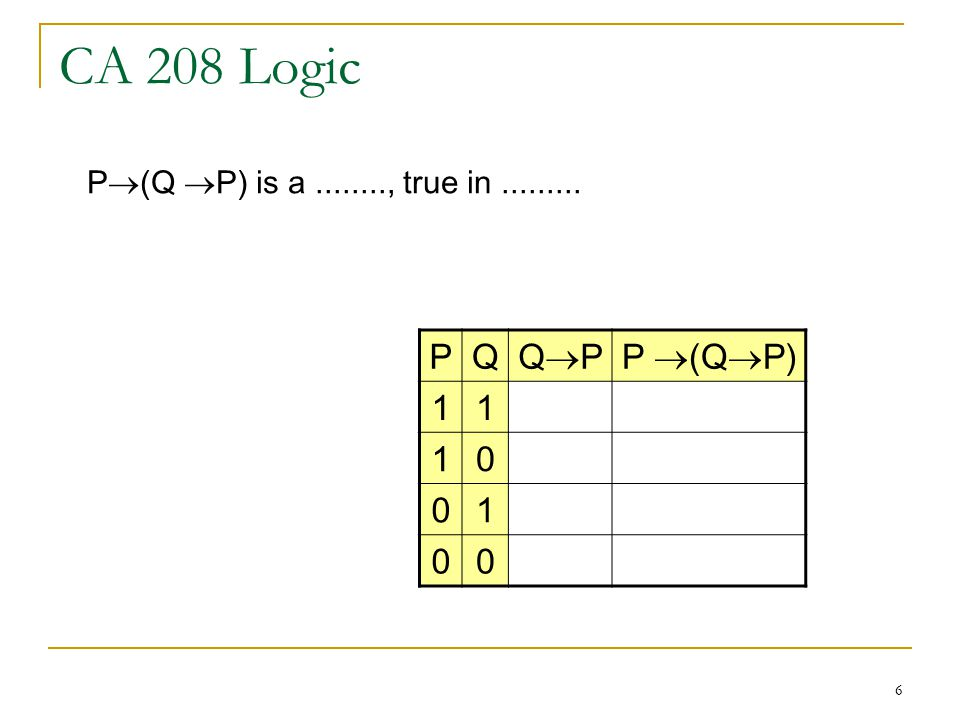 6 CA 208 Logic PQ QPQPP  (Q  P) P  (Q  P) is a , true in