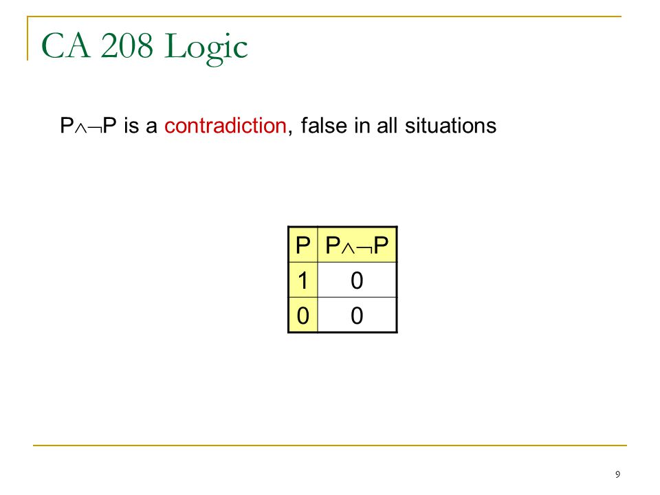 9 CA 208 Logic P P  P P  P is a contradiction, false in all situations