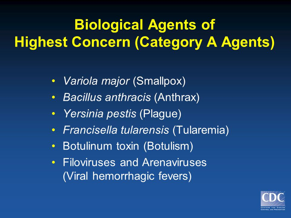 Biological Agents of Highest Concern (Category A Agents) Variola major (Smallpox) Bacillus anthracis (Anthrax) Yersinia pestis (Plague) Francisella tularensis (Tularemia) Botulinum toxin (Botulism) Filoviruses and Arenaviruses (Viral hemorrhagic fevers)