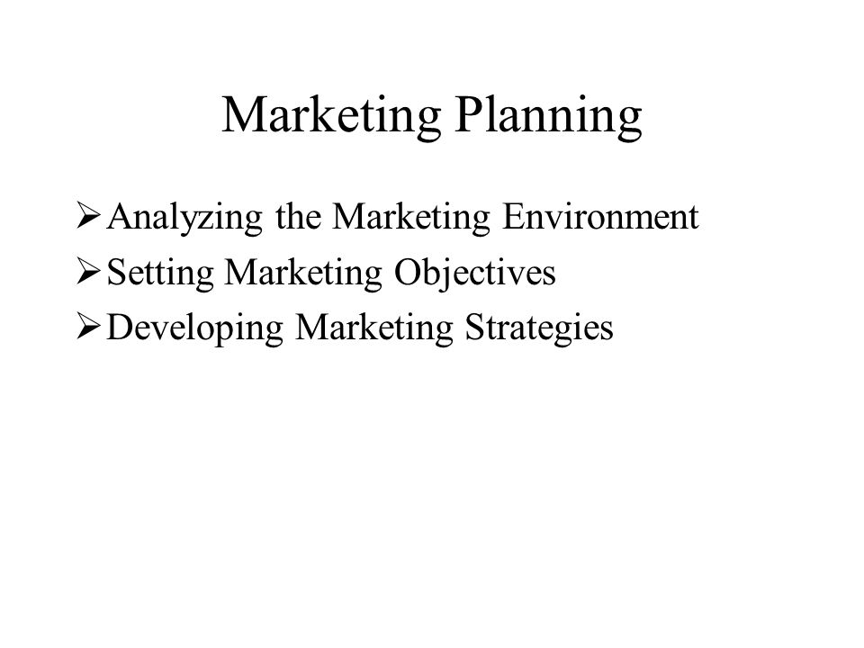 Marketing Planning  Analyzing the Marketing Environment  Setting Marketing Objectives  Developing Marketing Strategies