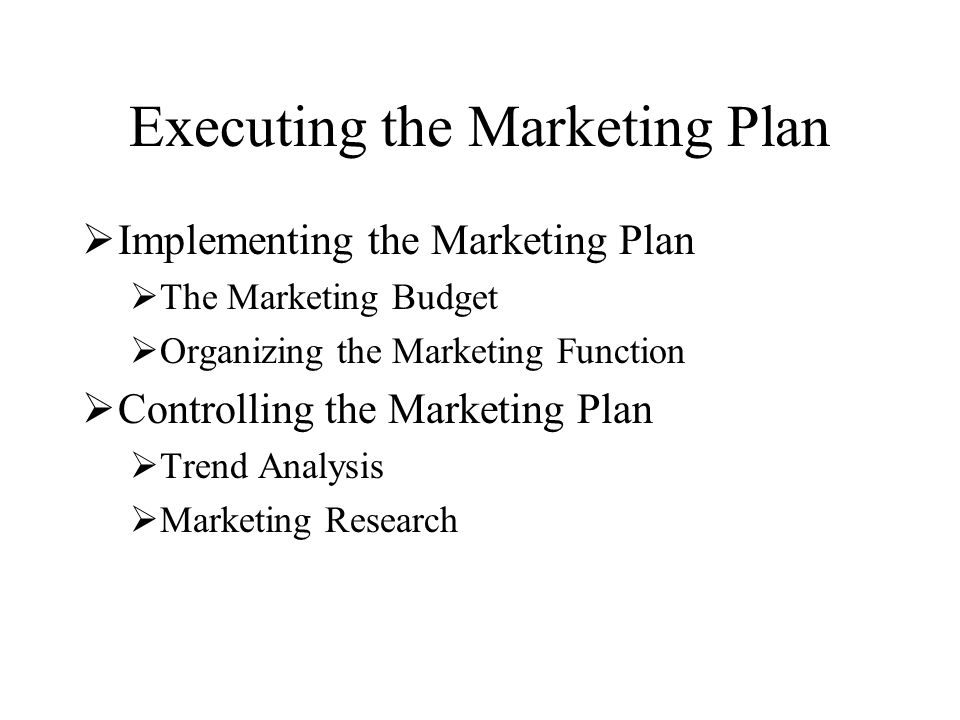 Executing the Marketing Plan  Implementing the Marketing Plan  The Marketing Budget  Organizing the Marketing Function  Controlling the Marketing Plan  Trend Analysis  Marketing Research