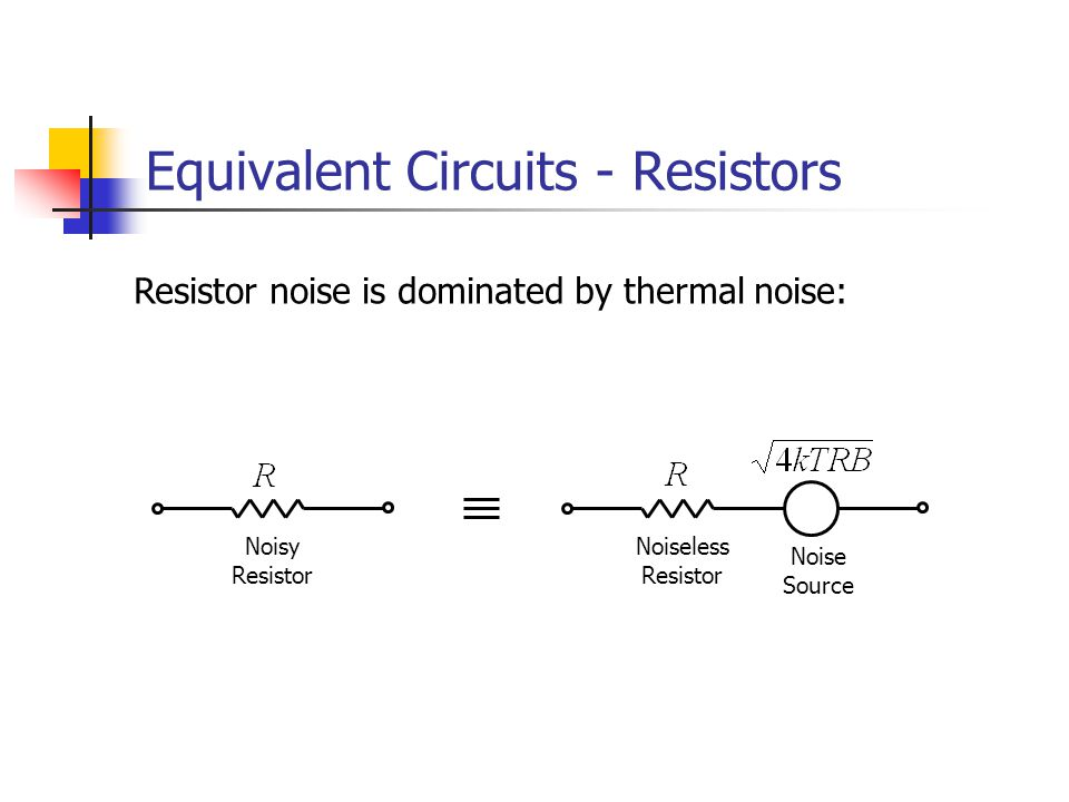 Equivalent Circuits - Resistors Resistor noise is dominated by thermal noise: Noiseless Resistor Noisy Resistor Noise Source