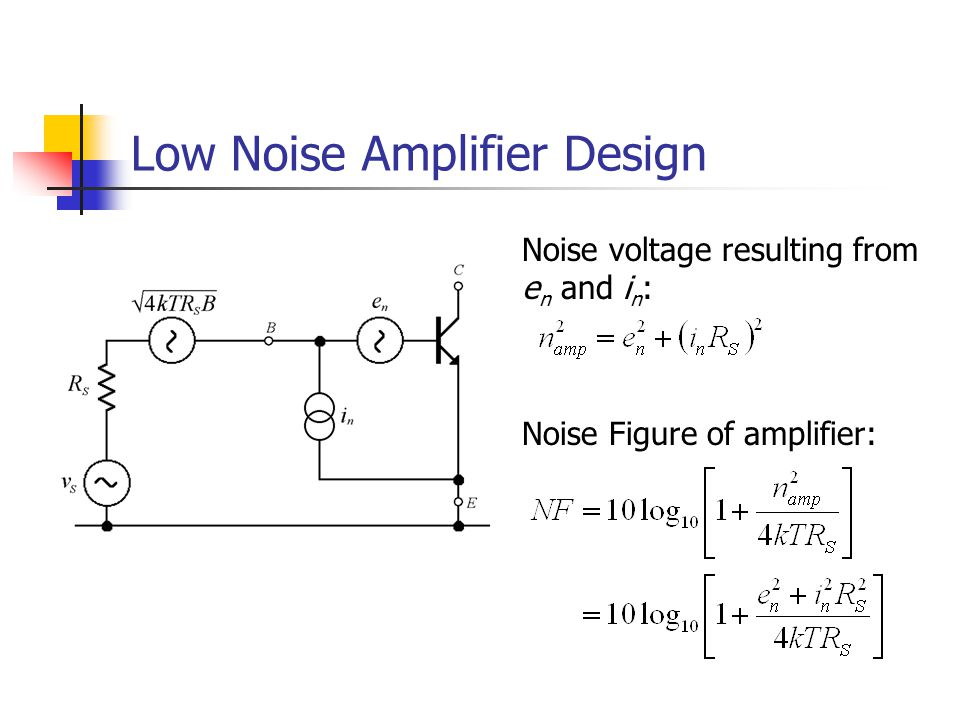 Low Noise Amplifier Design Noise voltage resulting from e n and i n : Noise Figure of amplifier: