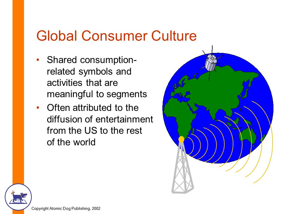 Copyright Atomic Dog Publishing, 2002 Global Consumer Culture Shared consumption- related symbols and activities that are meaningful to segments Often attributed to the diffusion of entertainment from the US to the rest of the world