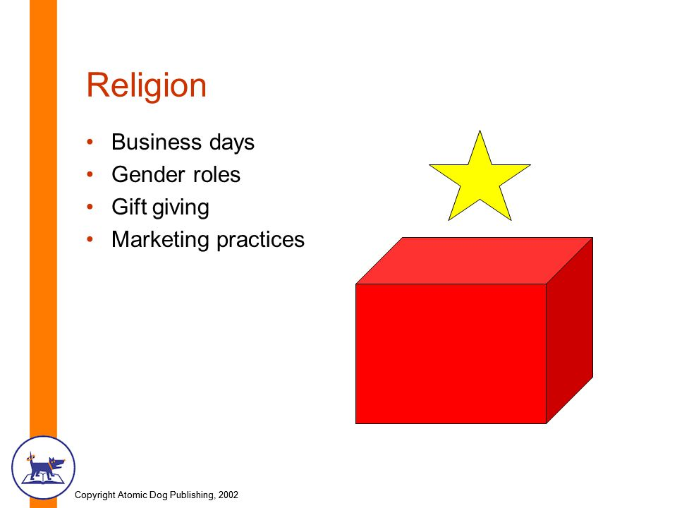 Copyright Atomic Dog Publishing, 2002 Religion Business days Gender roles Gift giving Marketing practices