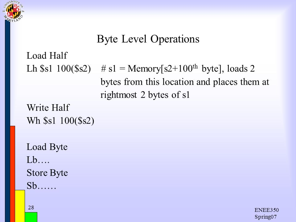 ENEE350 Spring07 28 Byte Level Operations Load Half Lh $s1 100($s2) # s1 = Memory[s2+100 th byte], loads 2 bytes from this location and places them at rightmost 2 bytes of s1 Write Half Wh $s1 100($s2) Load Byte Lb….
