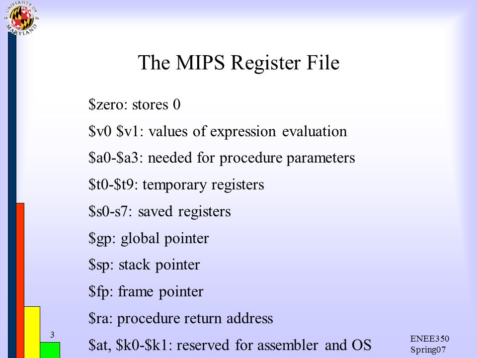 ENEE350 Spring07 3 The MIPS Register File $zero: stores 0 $v0 $v1: values of expression evaluation $a0-$a3: needed for procedure parameters $t0-$t9: temporary registers $s0-s7: saved registers $gp: global pointer $sp: stack pointer $fp: frame pointer $ra: procedure return address $at, $k0-$k1: reserved for assembler and OS