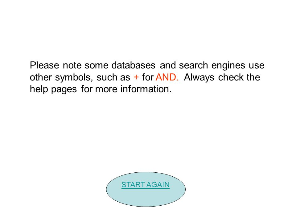Please note some databases and search engines use other symbols, such as + for AND.
