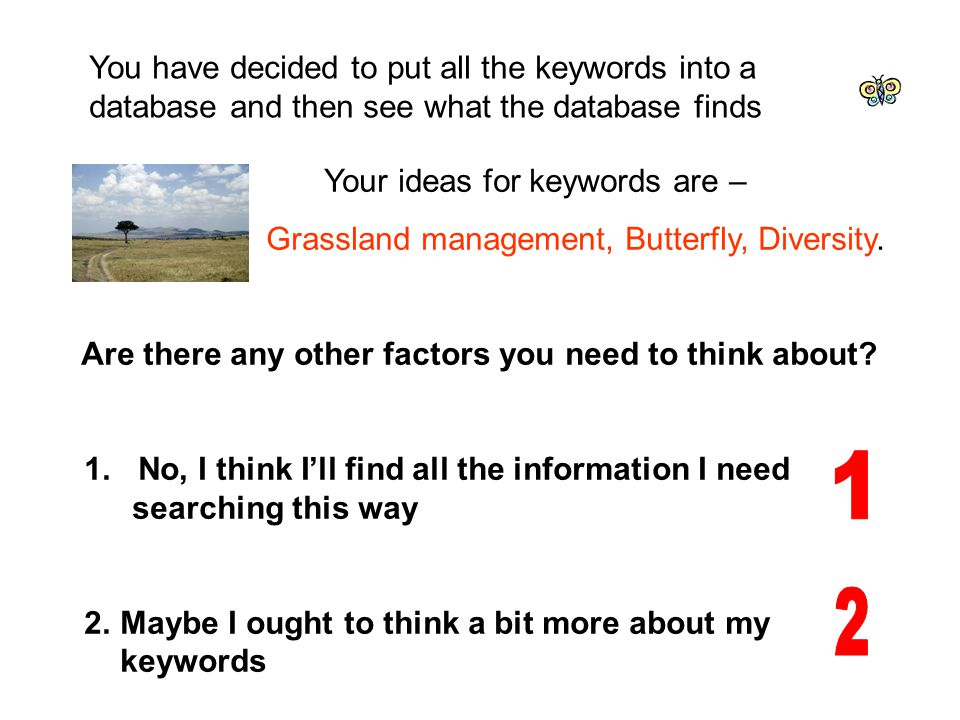 Your ideas for keywords are – Grassland management, Butterfly, Diversity.