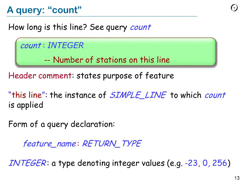 13 A query: count How long is this line.