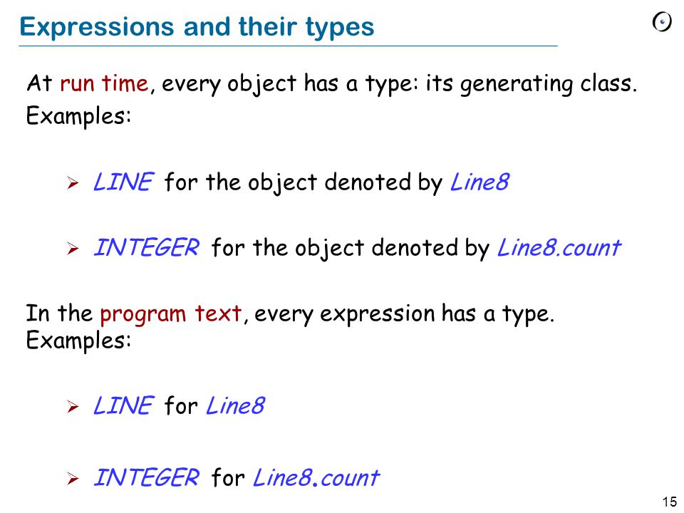 15 Expressions and their types At run time, every object has a type: its generating class.
