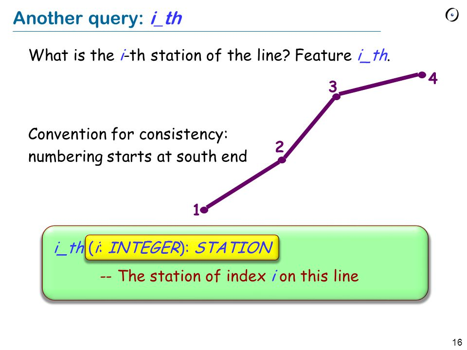 16 Another query: i_th What is the i-th station of the line.