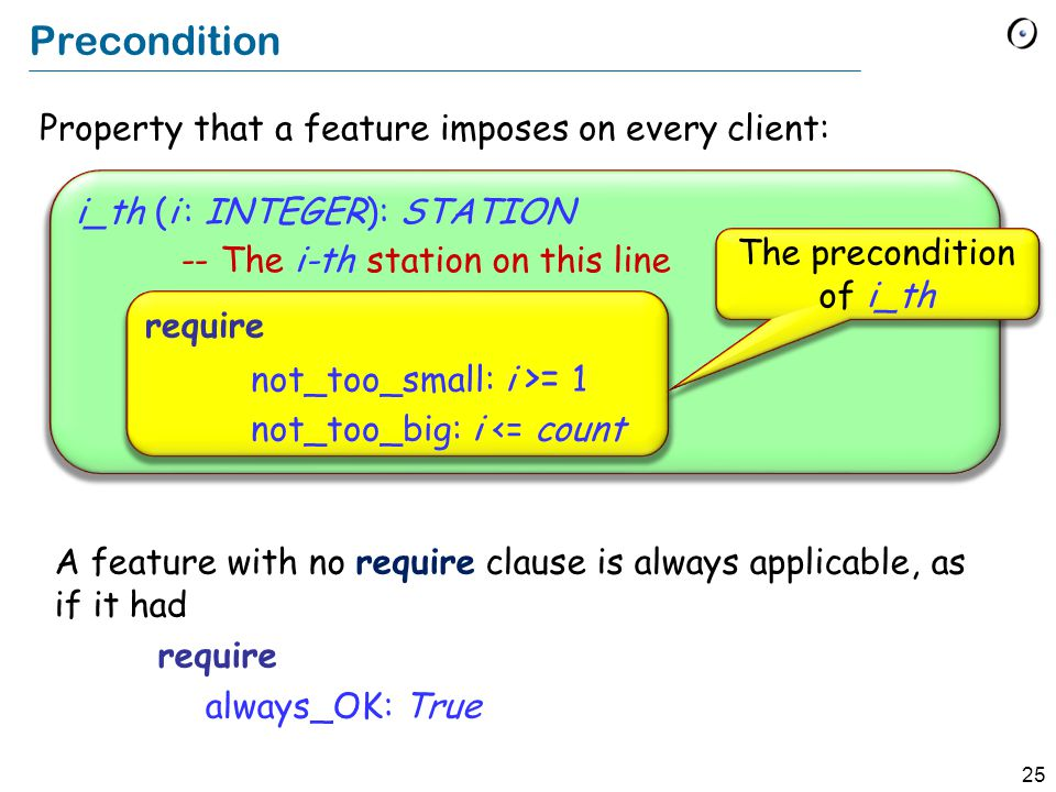 25 Property that a feature imposes on every client: i_th (i : INTEGER): STATION -- The i-th station on this line Precondition require not_too_small: i >= 1 not_too_big: i <= count The precondition of i_th A feature with no require clause is always applicable, as if it had require always_OK: True