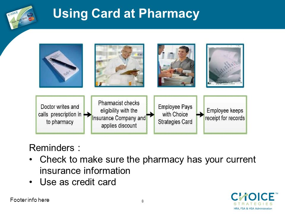 Using Card at Pharmacy Footer info here 8 Reminders : Check to make sure the pharmacy has your current insurance information Use as credit card