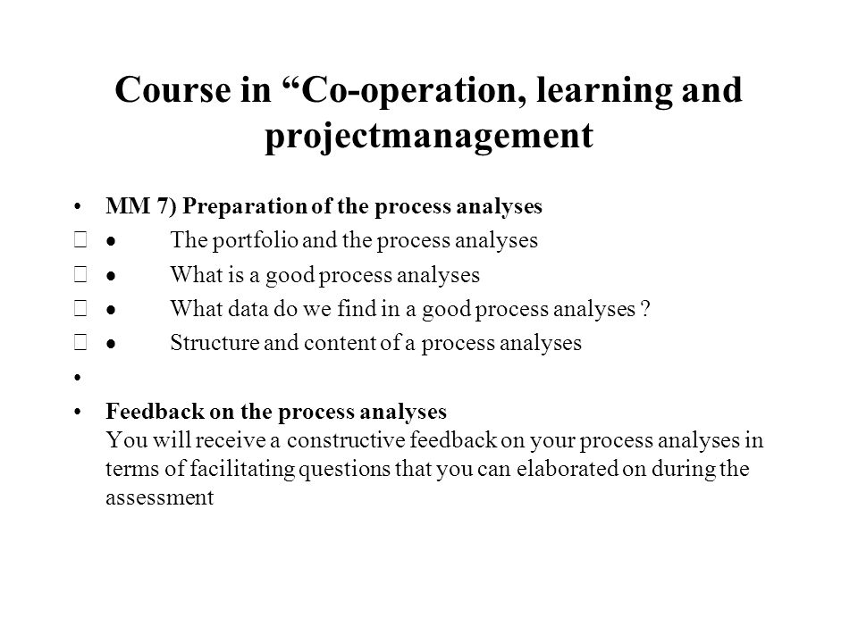 Presentation Of The Course In Project Work Co Operation Learning