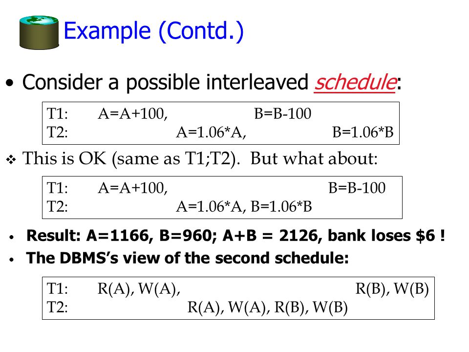 Example (Contd.) Consider a possible interleaved schedule: T1: A=A+100, B=B-100 T2: A=1.06*A, B=1.06*B v This is OK (same as T1;T2).