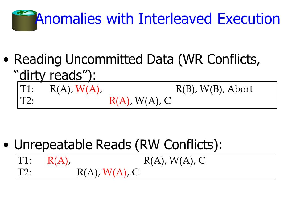 Anomalies with Interleaved Execution Reading Uncommitted Data (WR Conflicts, dirty reads ): Unrepeatable Reads (RW Conflicts): T1: R(A), W(A), R(B), W(B), Abort T2:R(A), W(A), C T1:R(A), R(A), W(A), C T2:R(A), W(A), C