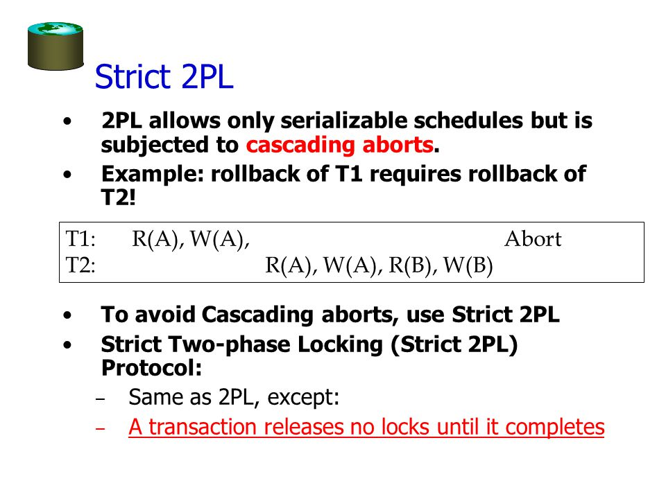Strict 2PL 2PL allows only serializable schedules but is subjected to cascading aborts.