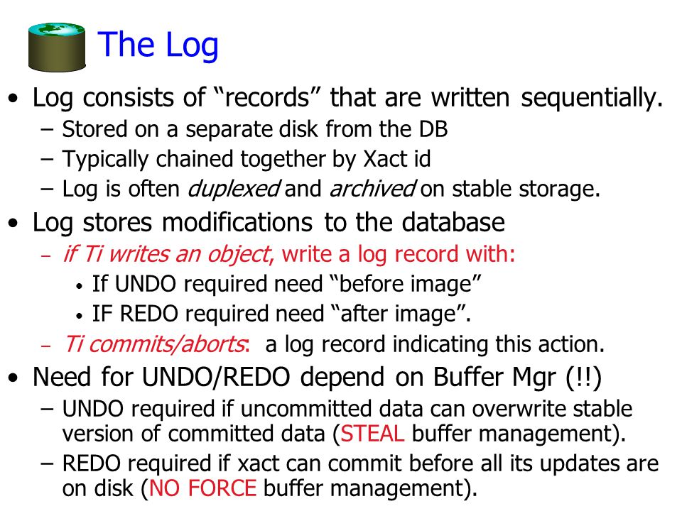 The Log Log consists of records that are written sequentially.