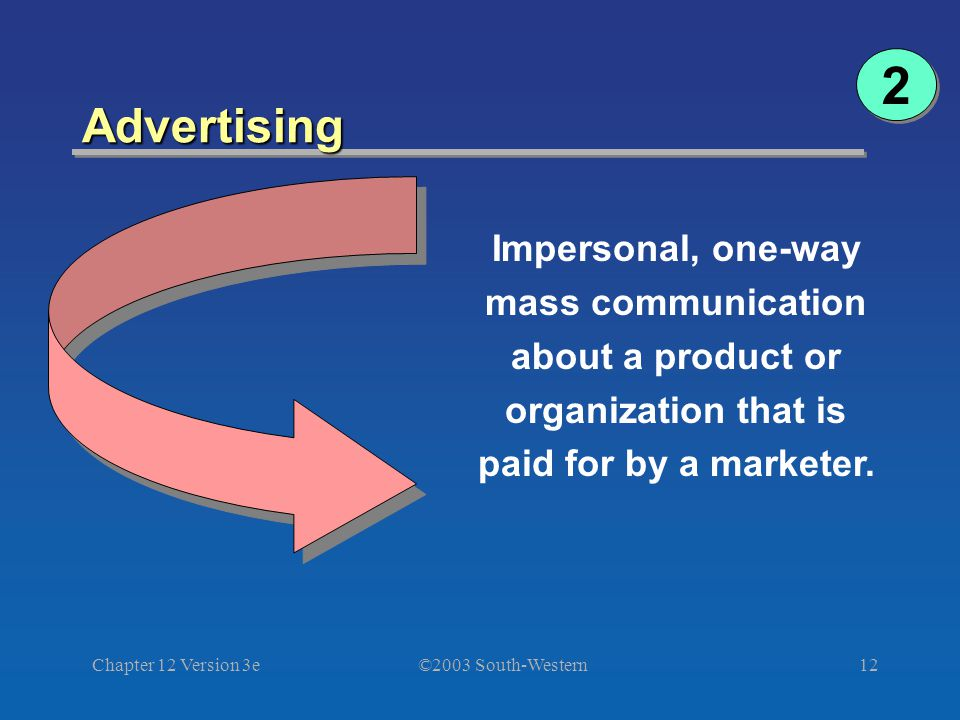 ©2003 South-Western Chapter 12 Version 3e12 Advertising Impersonal, one-way mass communication about a product or organization that is paid for by a marketer.