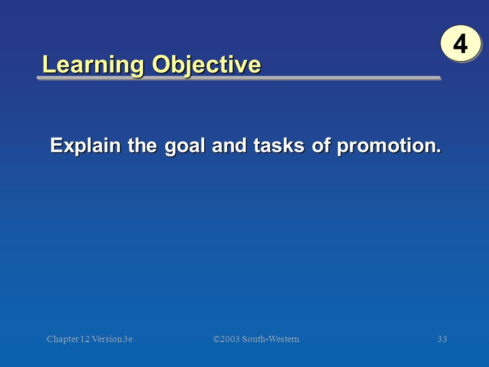 ©2003 South-Western Chapter 12 Version 3e33 Learning Objective Explain the goal and tasks of promotion.