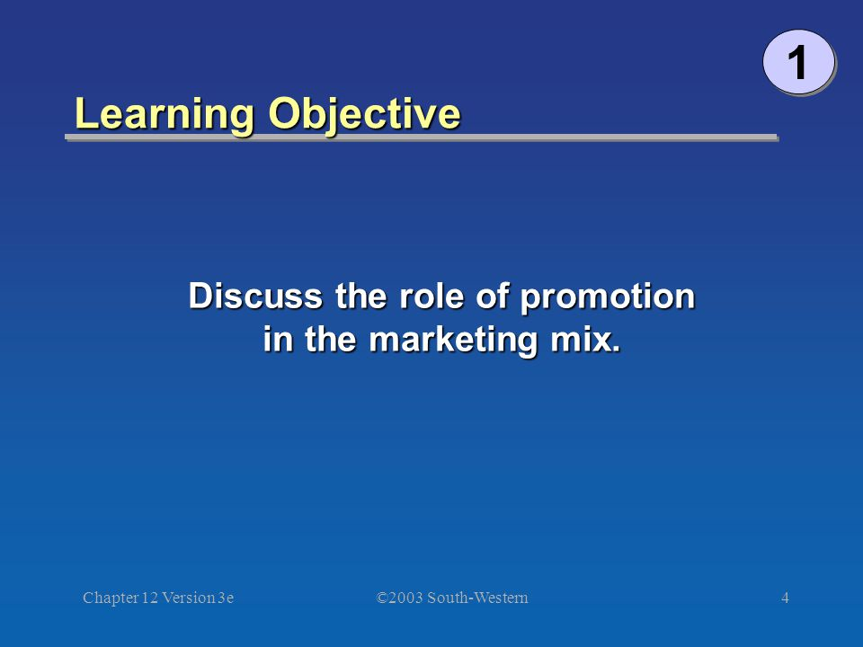 ©2003 South-Western Chapter 12 Version 3e4 Learning Objective 1 1 Discuss the role of promotion in the marketing mix.