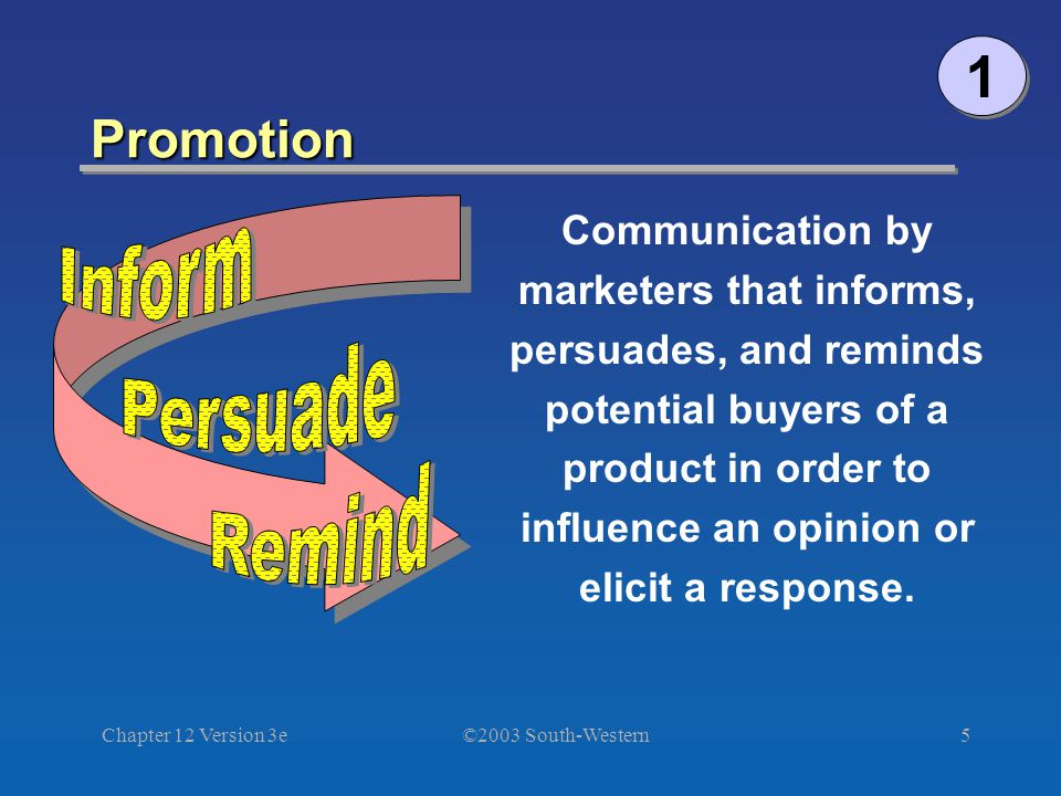 ©2003 South-Western Chapter 12 Version 3e5 Promotion 1 1 Communication by marketers that informs, persuades, and reminds potential buyers of a product in order to influence an opinion or elicit a response.