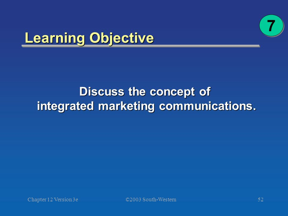 ©2003 South-Western Chapter 12 Version 3e52 Learning Objective Discuss the concept of integrated marketing communications.