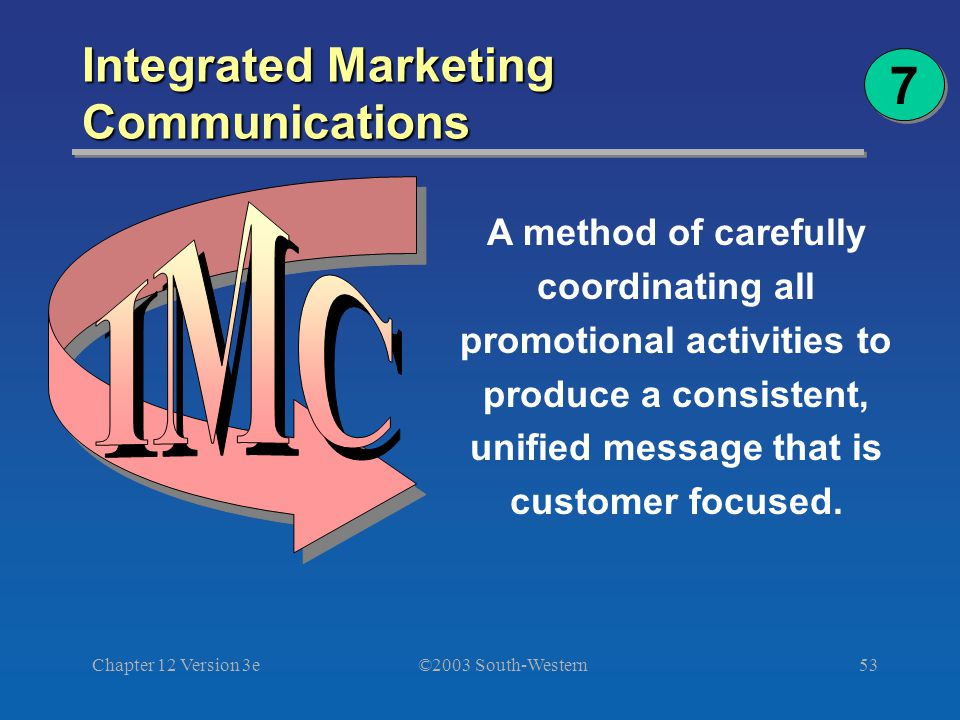 ©2003 South-Western Chapter 12 Version 3e53 Integrated Marketing Communications A method of carefully coordinating all promotional activities to produce a consistent, unified message that is customer focused.