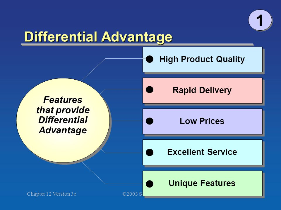 ©2003 South-Western Chapter 12 Version 3e8 Differential Advantage Unique Features Excellent Service Low Prices Rapid Delivery High Product Quality Features that provide Differential Advantage Advantage Features that provide Differential Advantage Advantage 1 1