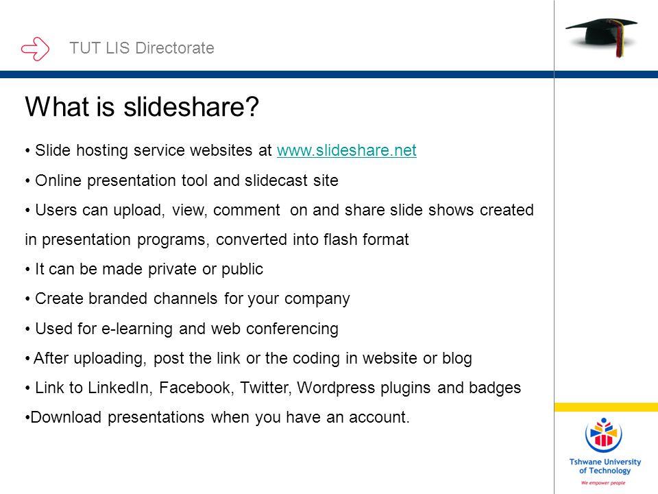 sharing media on slideshare and e lis fatima darries 9 june 2010 tut
