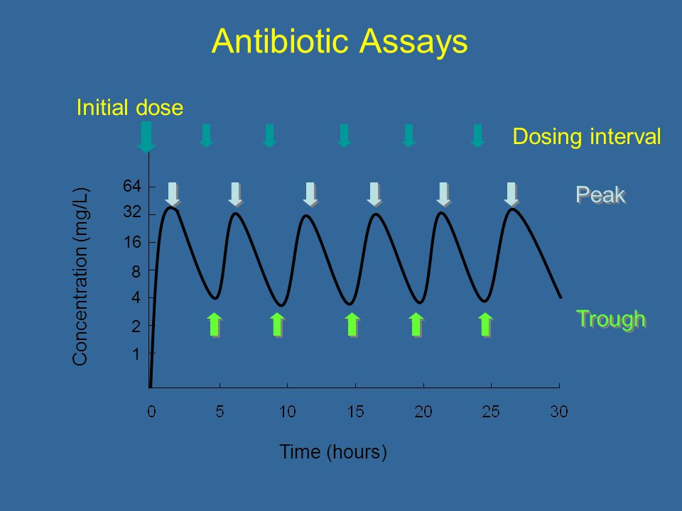 Antibiotic Assays Concentration (mg/L) Time (hours) Initial dose Dosing interval Trough Peak