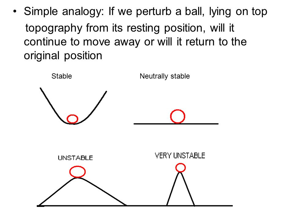 Simple analogy: If we perturb a ball, lying on top topography from its resting position, will it continue to move away or will it return to the original position StableNeutrally stable