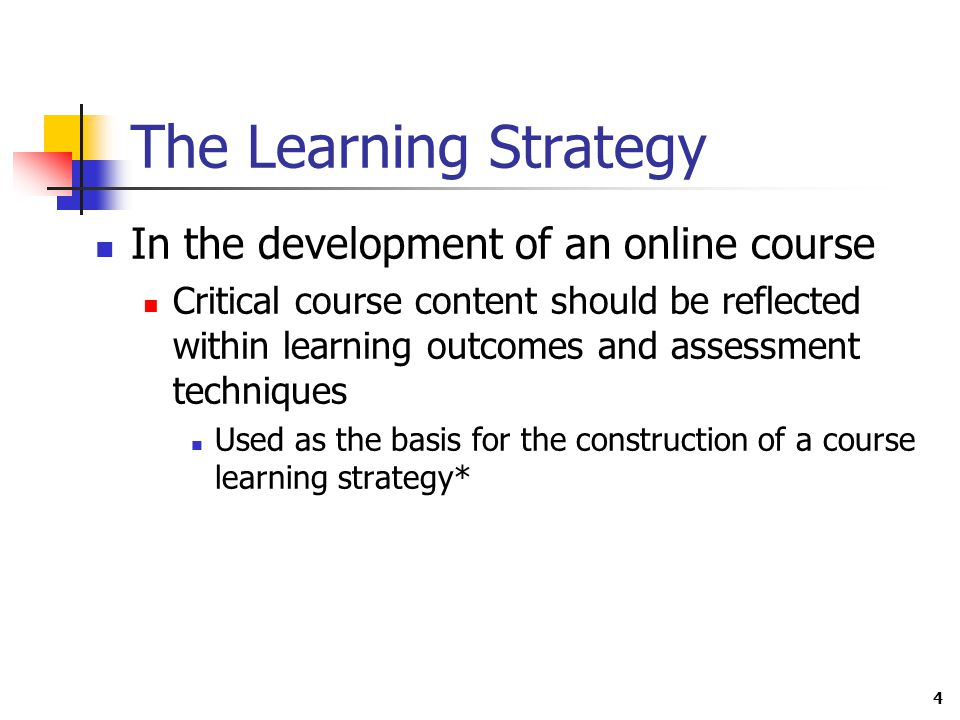 4 The Learning Strategy In the development of an online course Critical course content should be reflected within learning outcomes and assessment techniques Used as the basis for the construction of a course learning strategy*