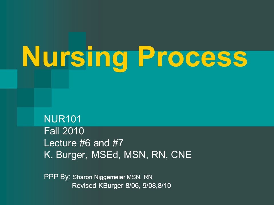 Nursing Process NUR101 Fall 2010 Lecture #6 and #7 K.