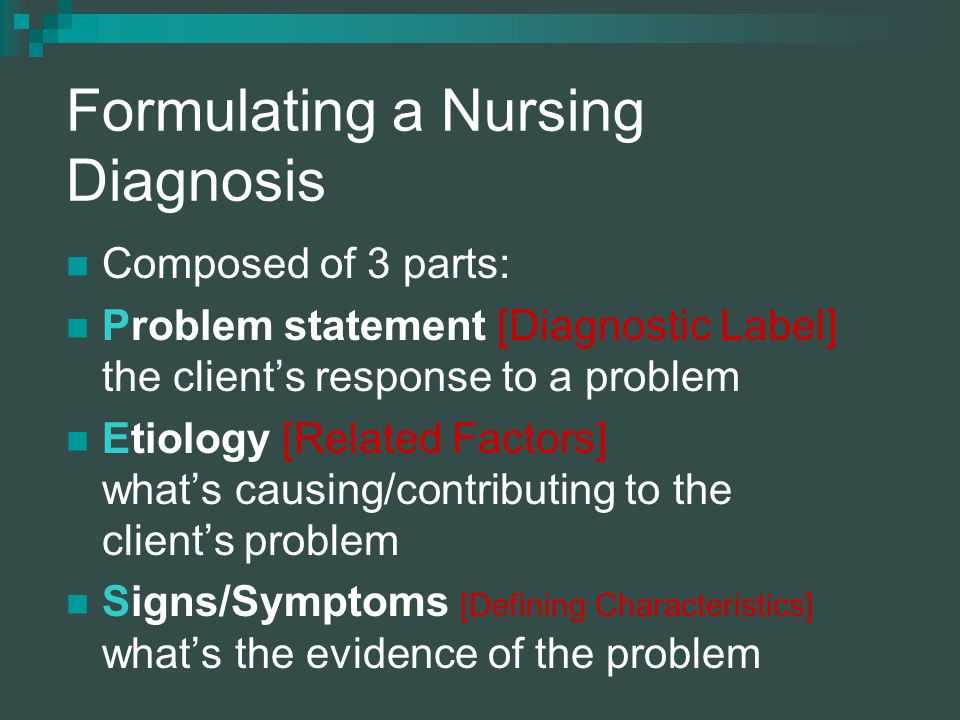 Formulating a Nursing Diagnosis Composed of 3 parts: Problem statement [Diagnostic Label] the client's response to a problem Etiology [Related Factors] what's causing/contributing to the client's problem Signs/Symptoms [Defining Characteristics] what's the evidence of the problem