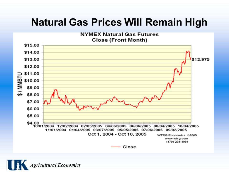 Agricultural Economics Natural Gas Prices Will Remain High