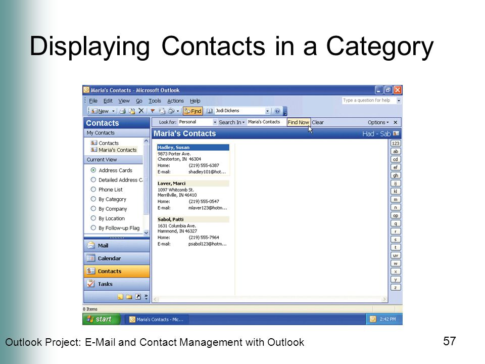 Outlook Project:  and Contact Management with Outlook 57 Displaying Contacts in a Category
