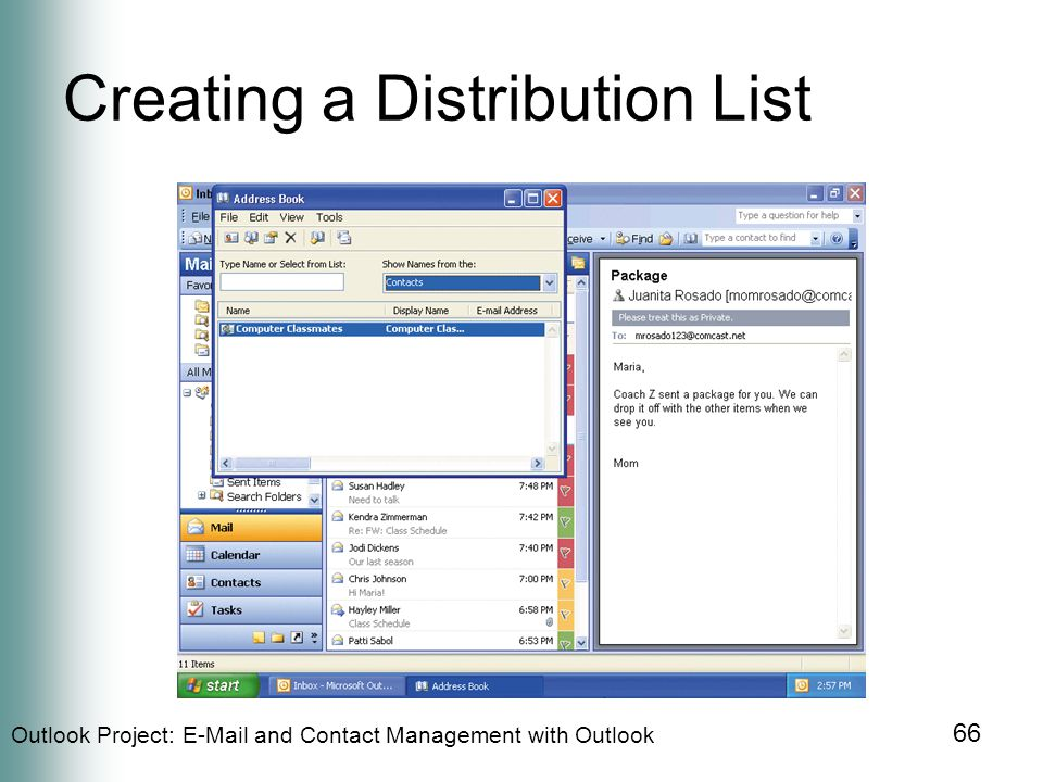 Outlook Project:  and Contact Management with Outlook 66 Creating a Distribution List