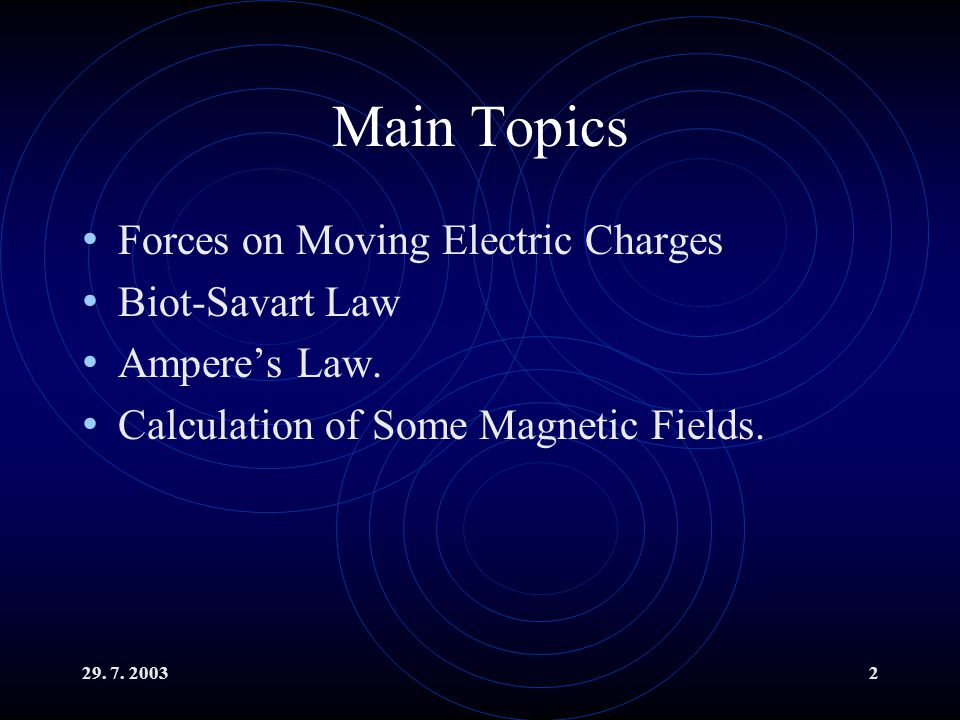 Main Topics Forces on Moving Electric Charges Biot-Savart Law Ampere's Law.