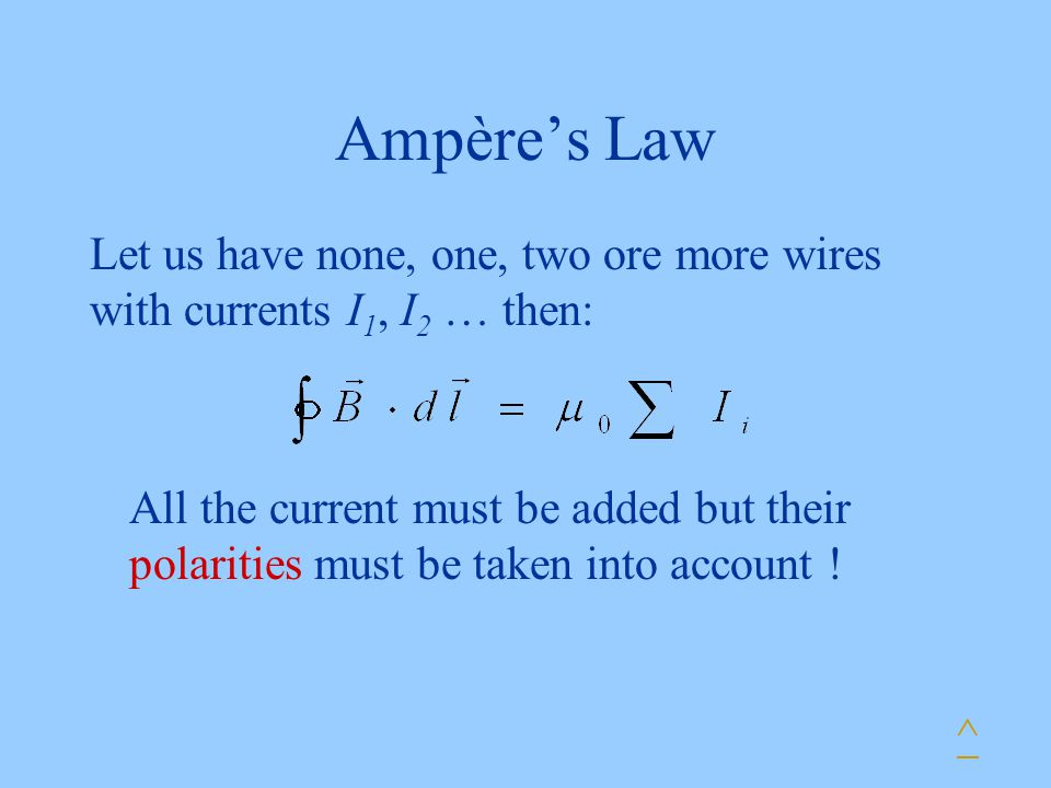 Ampère's Law Let us have none, one, two ore more wires with currents I 1, I 2 … then: All the current must be added but their polarities must be taken into account .