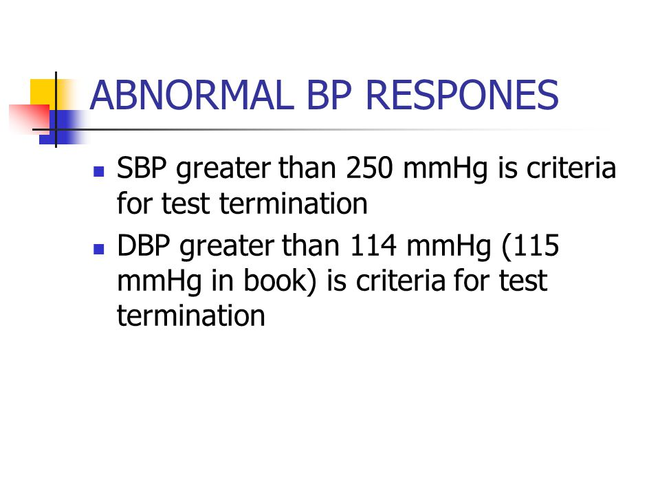 ABNORMAL BP RESPONES SBP greater than 250 mmHg is criteria for test termination DBP greater than 114 mmHg (115 mmHg in book) is criteria for test termination