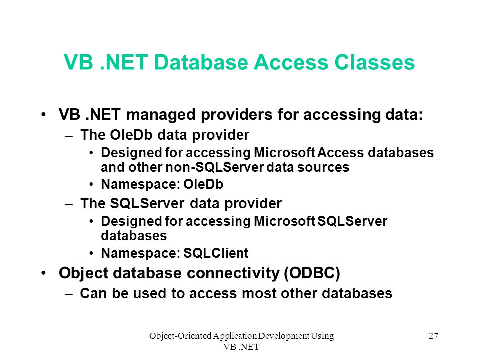 Object-Oriented Application Development Using VB NET 1