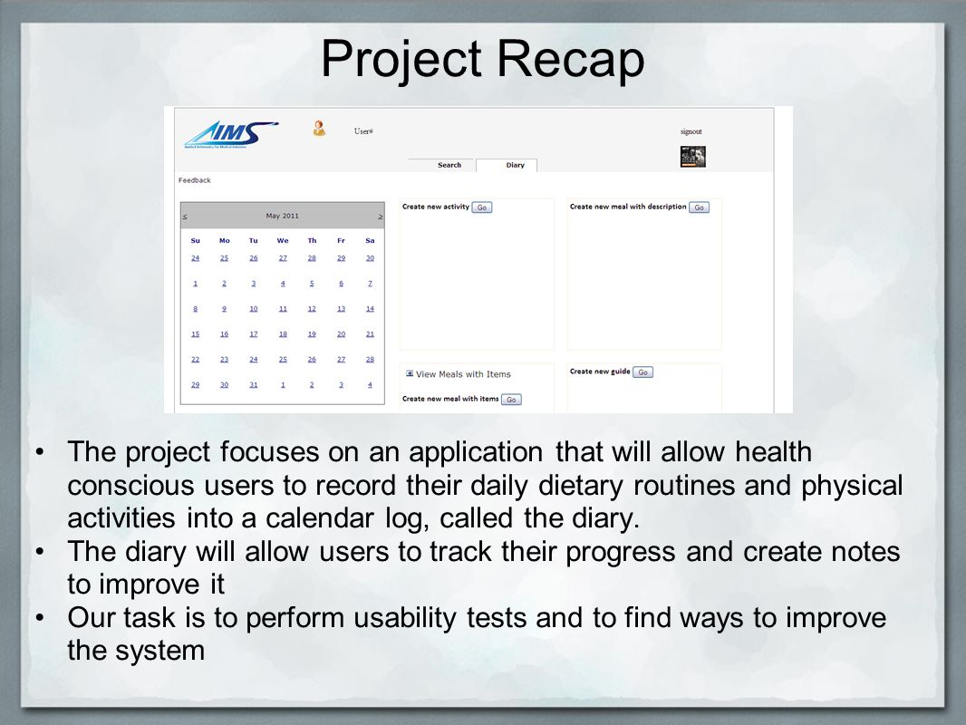 project 4 user interface for logging food intake and activities