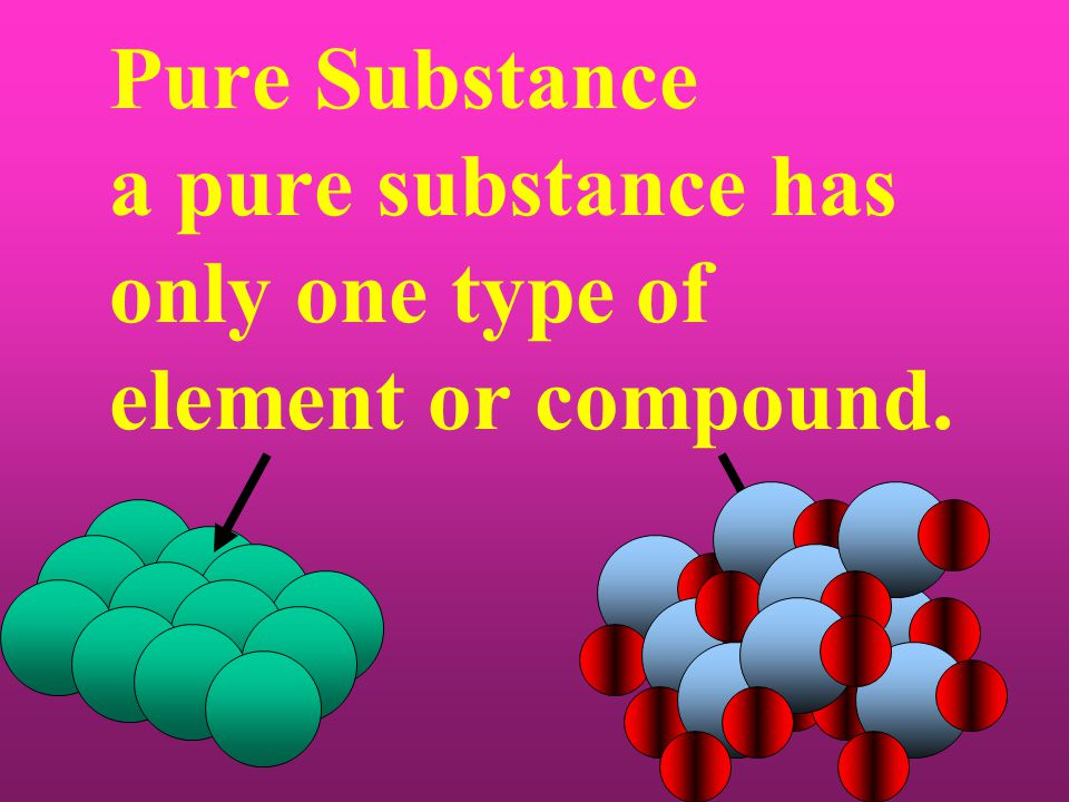 Pure Substance a pure substance has only one type of element or compound.