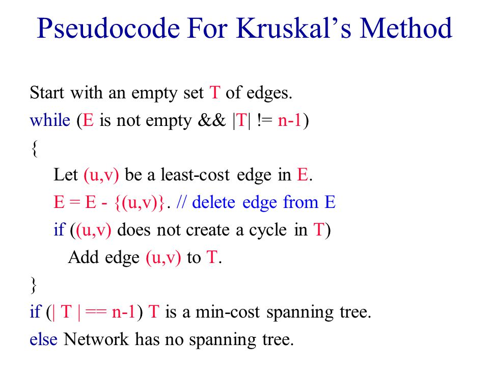 Pseudocode For Kruskal's Method Start with an empty set T of edges.