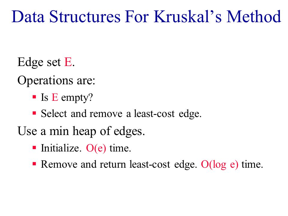 Data Structures For Kruskal's Method Edge set E. Operations are:  Is E empty.