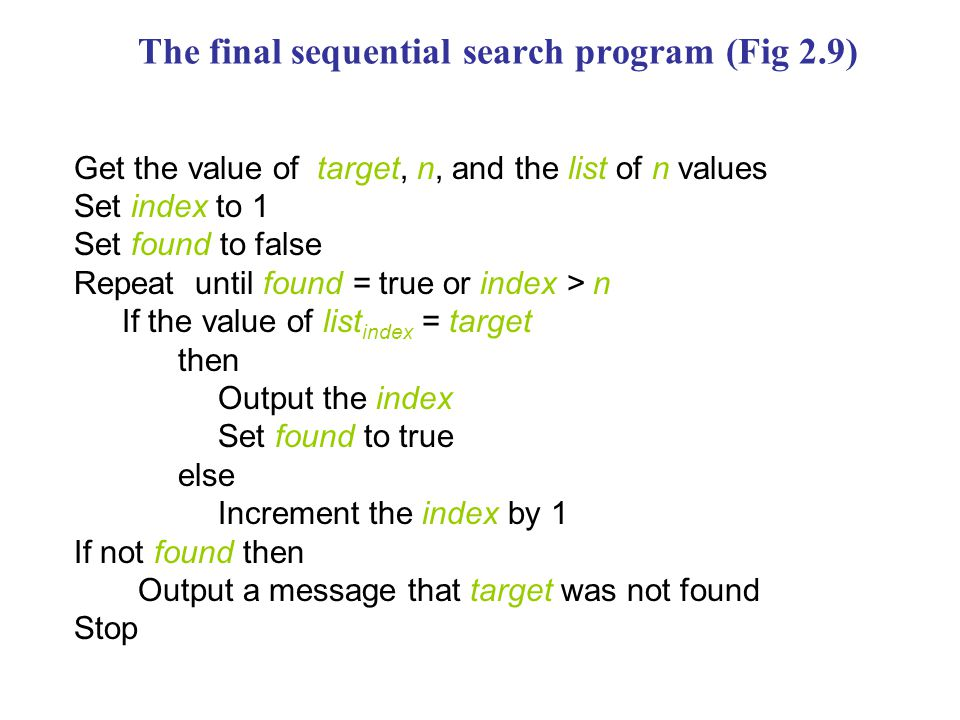 The final sequential search program (Fig 2.9) Get the value of target, n, and the list of n values Set index to 1 Set found to false Repeat until found = true or index > n If the value of list index = target then Output the index Set found to true else Increment the index by 1 If not found then Output a message that target was not found Stop