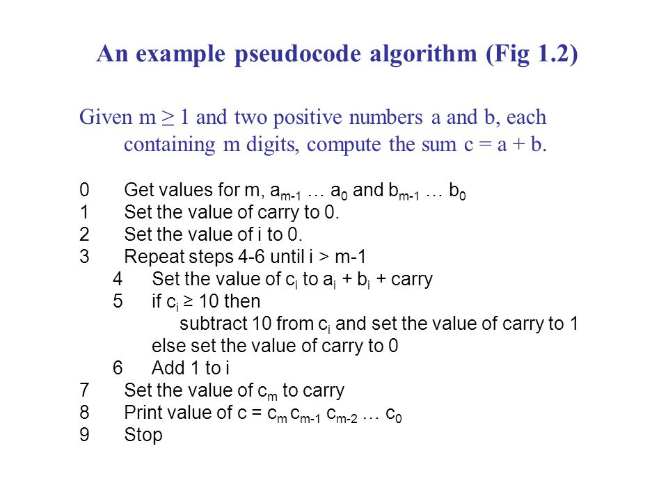 An example pseudocode algorithm (Fig 1.2) Given m ≥ 1 and two positive numbers a and b, each containing m digits, compute the sum c = a + b.