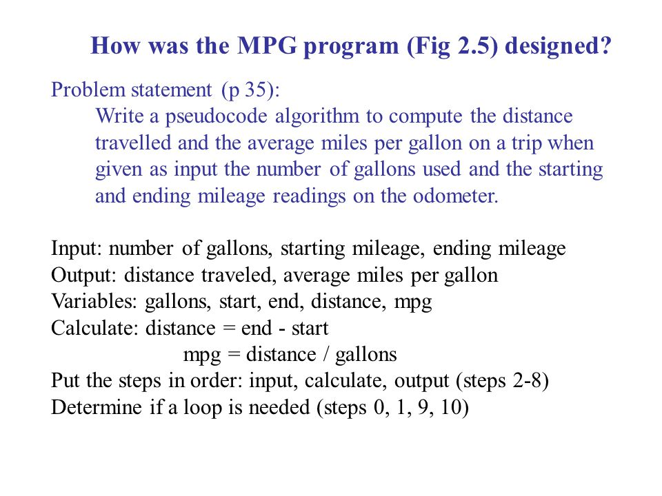 How was the MPG program (Fig 2.5) designed.